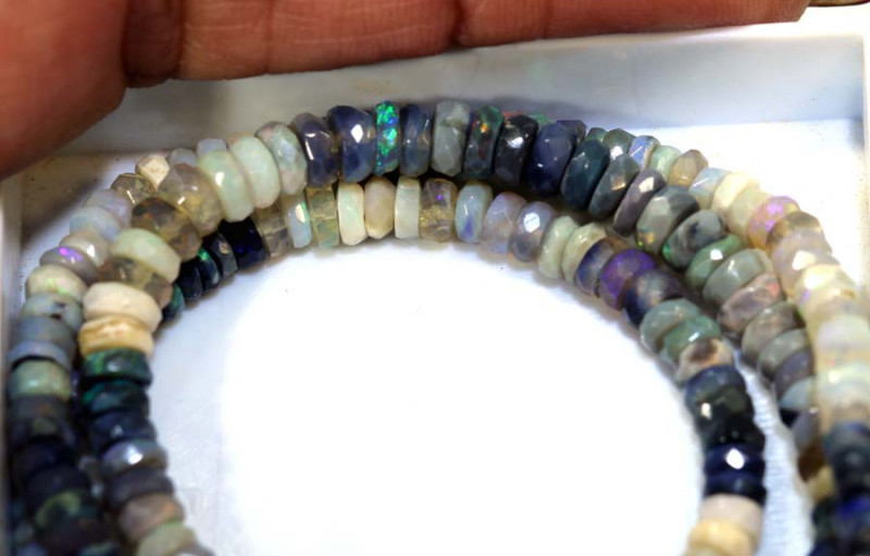 55 CTS BLACK OPAL FACETED BEADS STRAND TBO-8995
