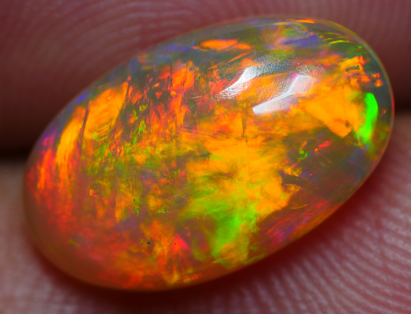 2.65 CRT BRILLIANT BROAD STRIPE FLORAL FIRE PLAY COLOR WELO OPAL
