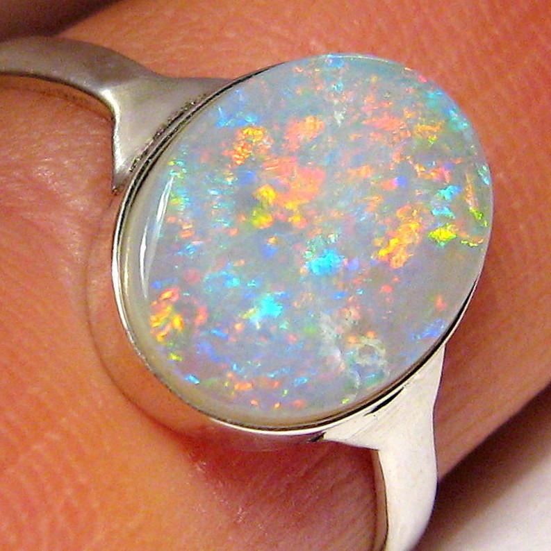 Solid Australian Opal Silver Ring Oval Gem Crystal 1.8 grams
