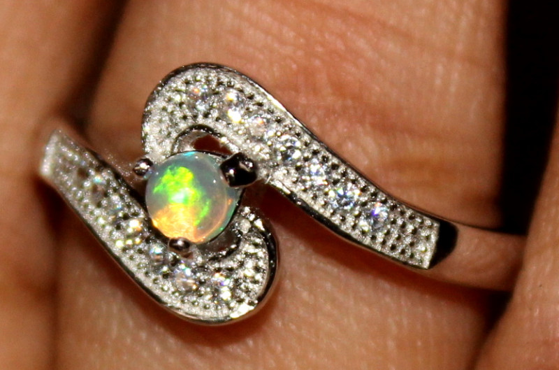 Natural Ethiopian Welo Fire Opal 925 Silver Ring Size (8 US) 329