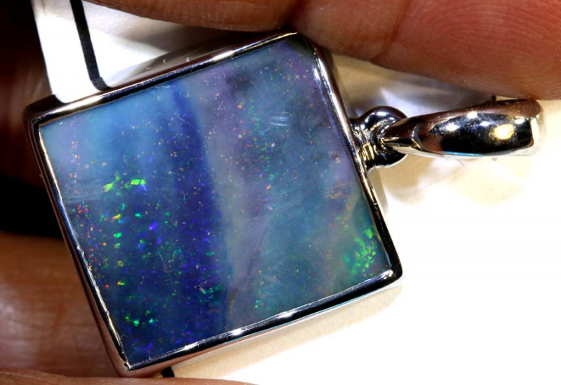 29.70 CTS BOULDER OPAL SILVER PENDANT OF-2566