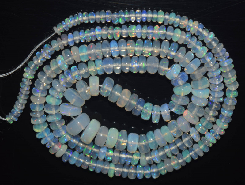 36.40 Ct Natural Ethiopian Welo Opal Beads Play Of Color