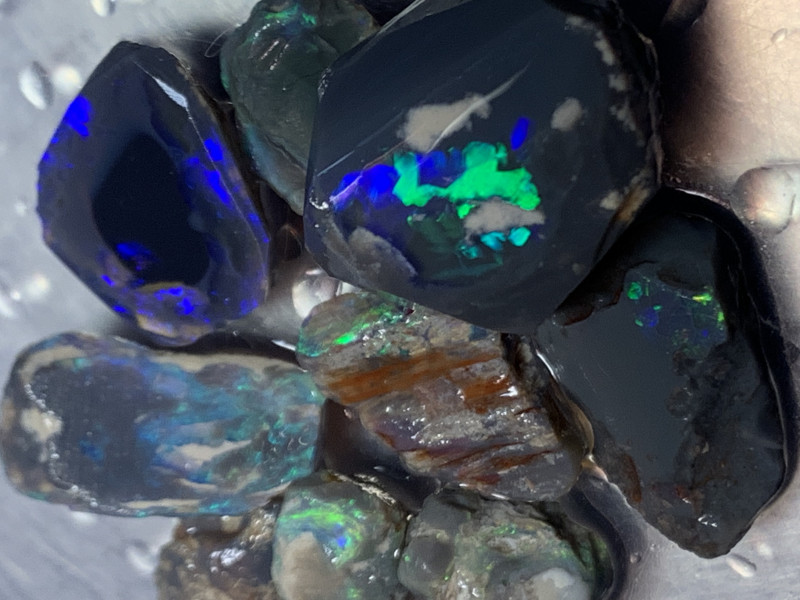 54 CTs Black Nobby; Solid/Natural Lightning Ridge Rough black Opal, #450