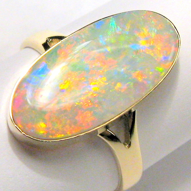 Solid Opal Ring Natural Australian Gemstone 14k Gold Free Size 7 Rare Gem #