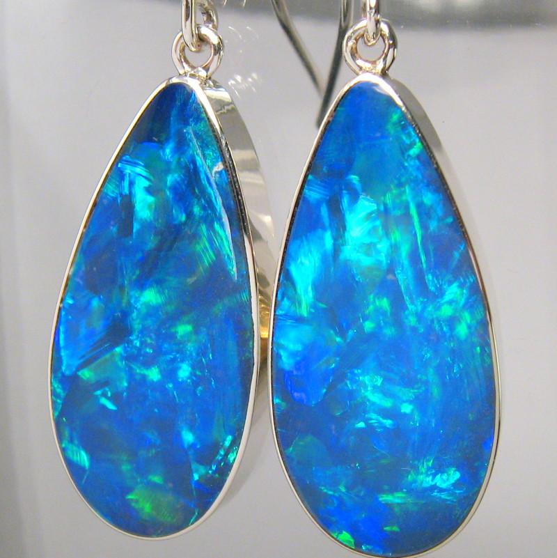 7d0444ac18b8c BIG Sterling Silver Natural Inlay Australian Opal Earrings Jewelry Gift 22c