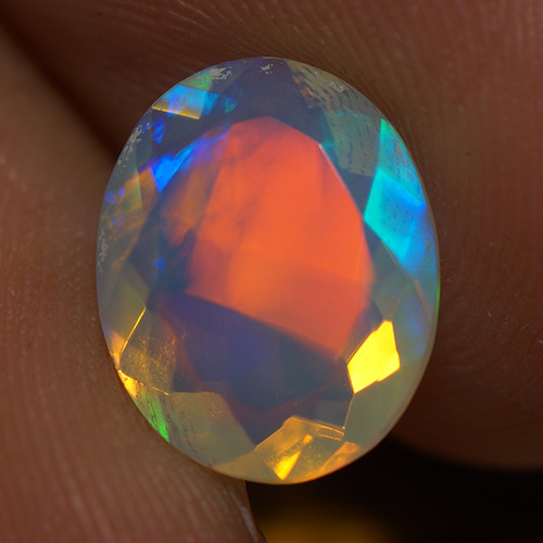 1.97 CT 11X9MM RED BLUE FLASH Welo  Ethiopian Faceted Opal -EBF372