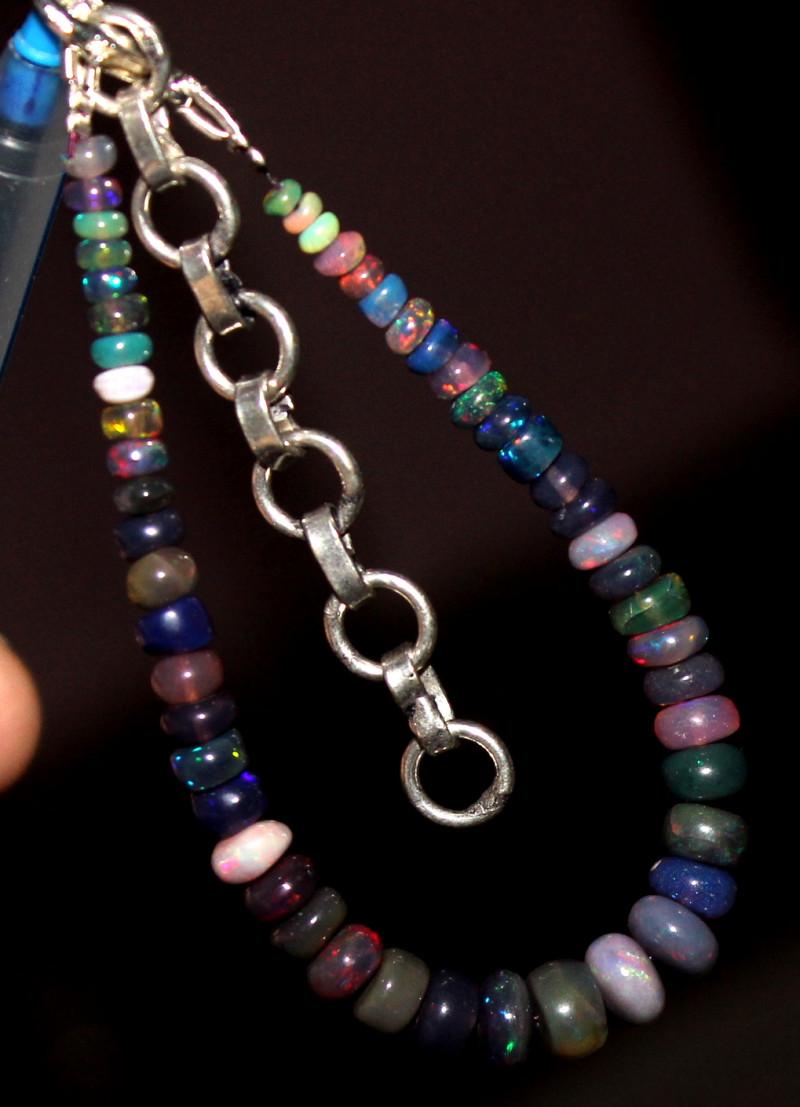 22 Crt Natural Ethiopian Welo Fire Smoked Opal Beads Bracelet 266