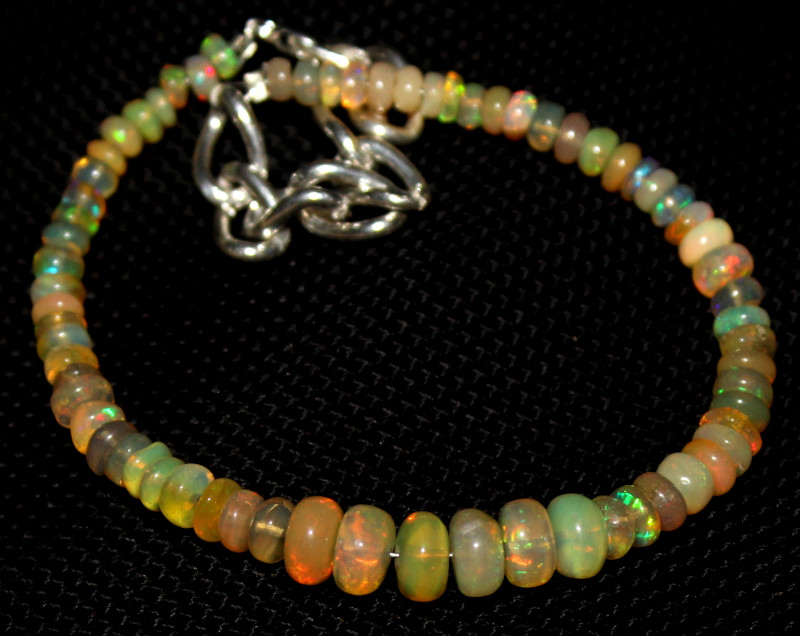 25 Crts Natural Ethiopian Welo Fire Opal Beads Bracelet 209