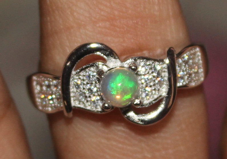 Natural Ethiopian Welo Fire Opal 925 Silver Ring Size (8 US) 297