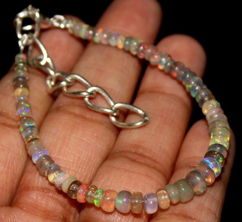 15 Crts Natural Ethiopian Welo Fire Opal Beads Bracelet 232