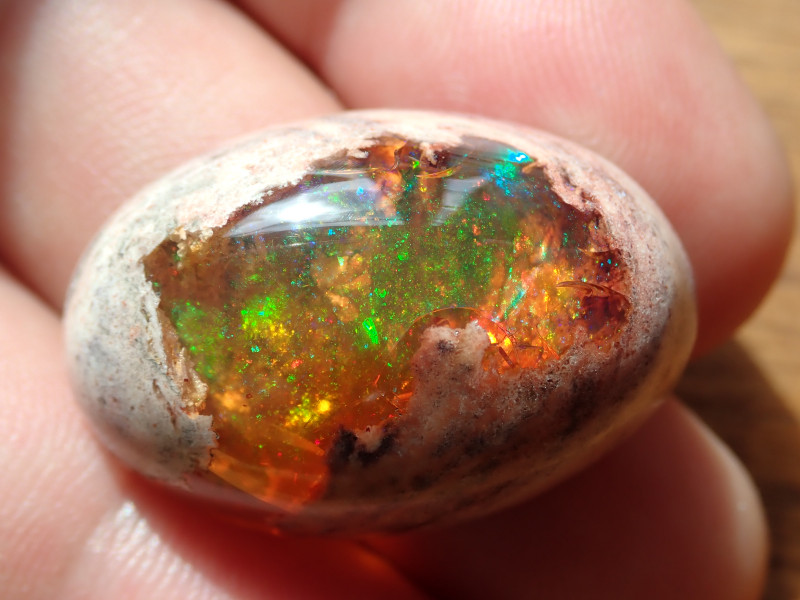 41.92 cts Mexican Matrix Cantera Multicoloured Fire Opal