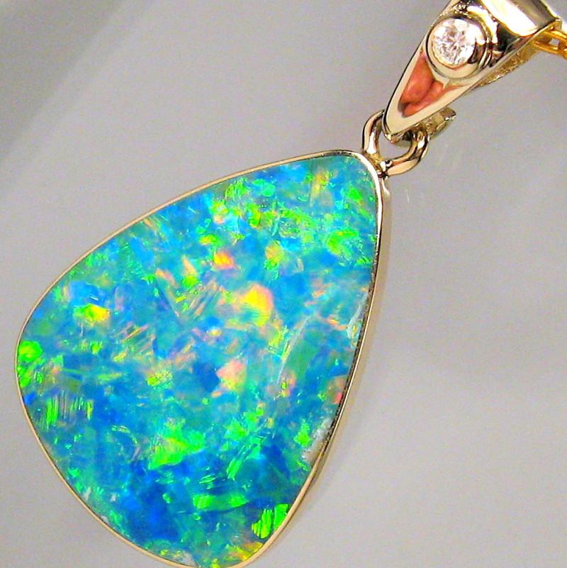 Genuine Australian Opal & Diamond Pendant Inlay Jewelry 14k Gold Gift 6