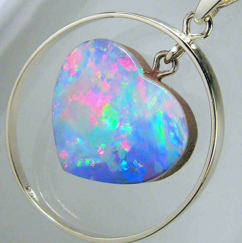 Australian Opal Pendant 14k White Gold 11.5ct Genuine Heart Jewelry Gift Ge
