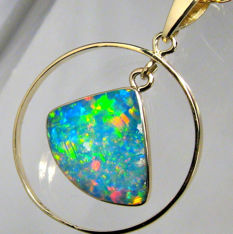 Rare Australian Opal Pendant 14kt Gold Genuine Natural Jewelry 9.5ct Gift A