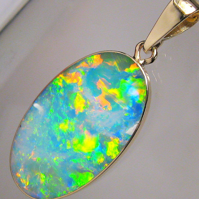 Australian Opal Pendant 7ct 14k Gold Authentic Genuine Inlay Jewelry Gift A