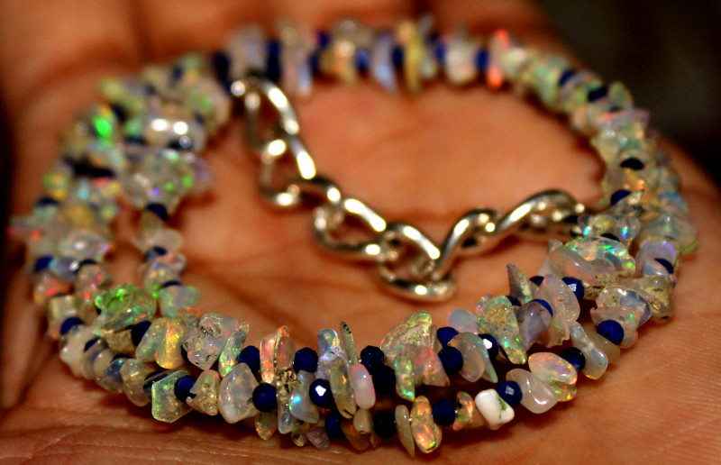 30 Crt Natural Ethiopian Welo Opal Uncut & Lapis Lazuli Beads Necklace