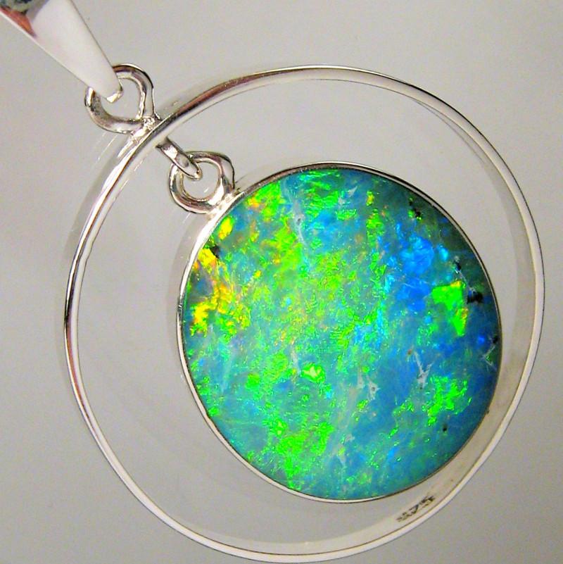 Australian Opal Pendant Silver Bright Emerald Fire Hoop Gift Gem 13.3ct #A7
