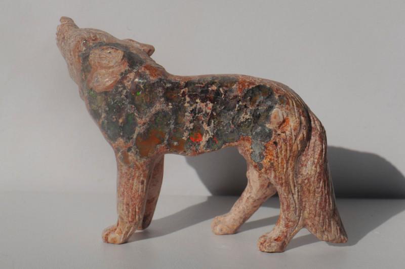 170ct Mexican Matrix Cantera Multicoloured Fire Opal Animal Figurine