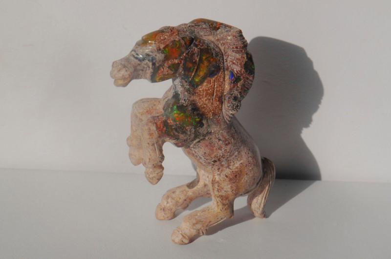 500ct Mexican Matrix Cantera Multicoloured Fire Opal Animal Figurine