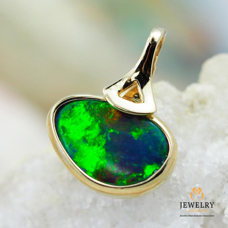 Handmade 14K Yellow Gold Doublet Opal Pendant OPJ128