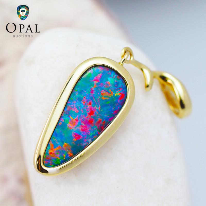 Handmade 14K Yellow Gold Doublet Opal Pendant OPJ132