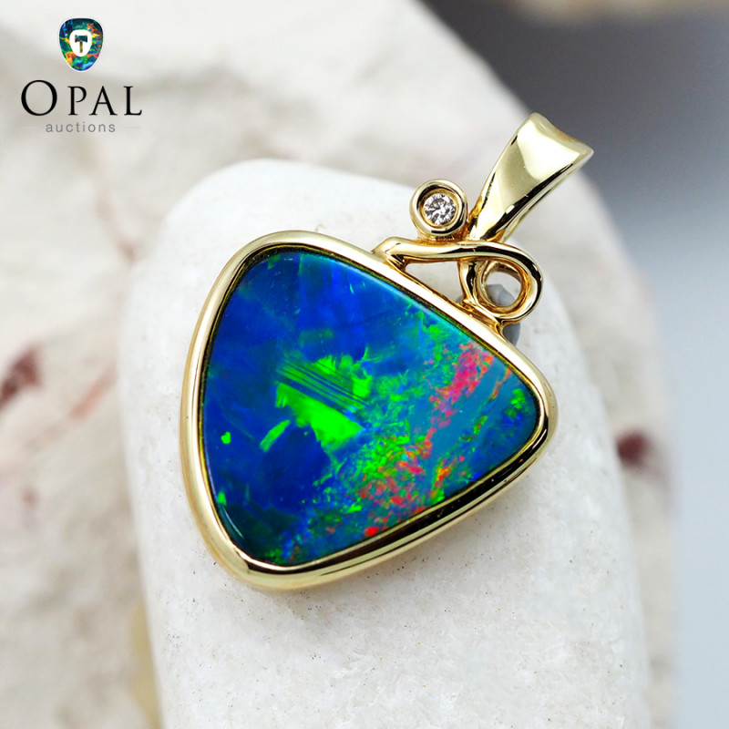 Handmade 14K Yellow Gold Doublet Opal & Diamond Pendant OPJ134