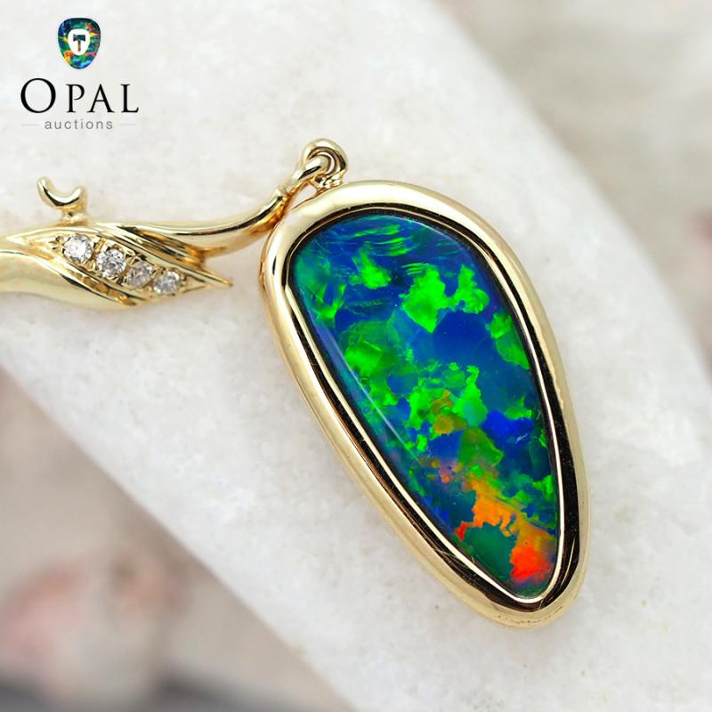 Handmade 14K Yellow Gold Doublet Opal & Diamond Pendant OPJ137