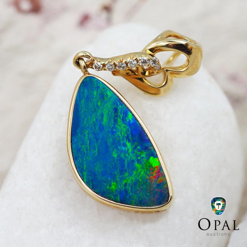 Handmade 14K Yellow Gold Doublet Opal & Diamond Pendant OPJ139