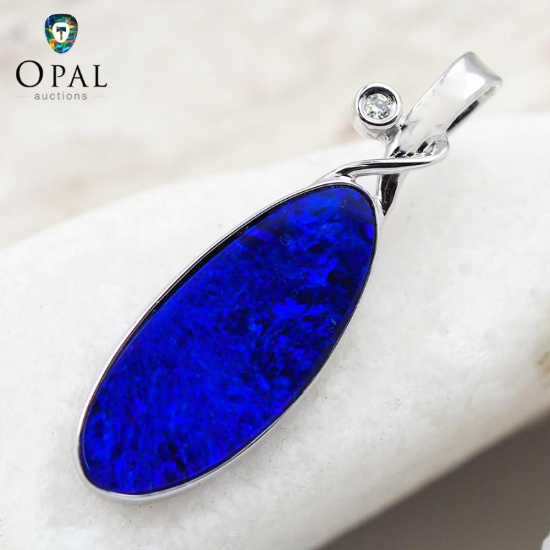 Handmade 14K White Gold Doublet Opal & Diamond Pendant OPJ140