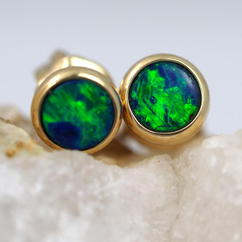 Handmade 14K Gold Doublet Opal Earrings OPJ172