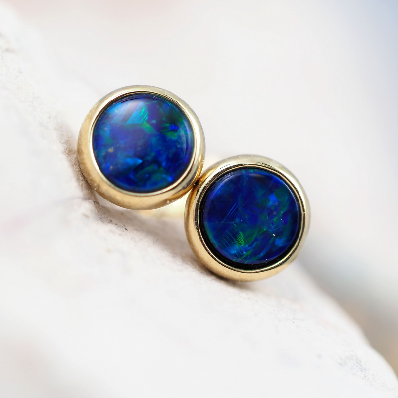 Handmade 14K Gold Doublet Opal Earrings OPJ175