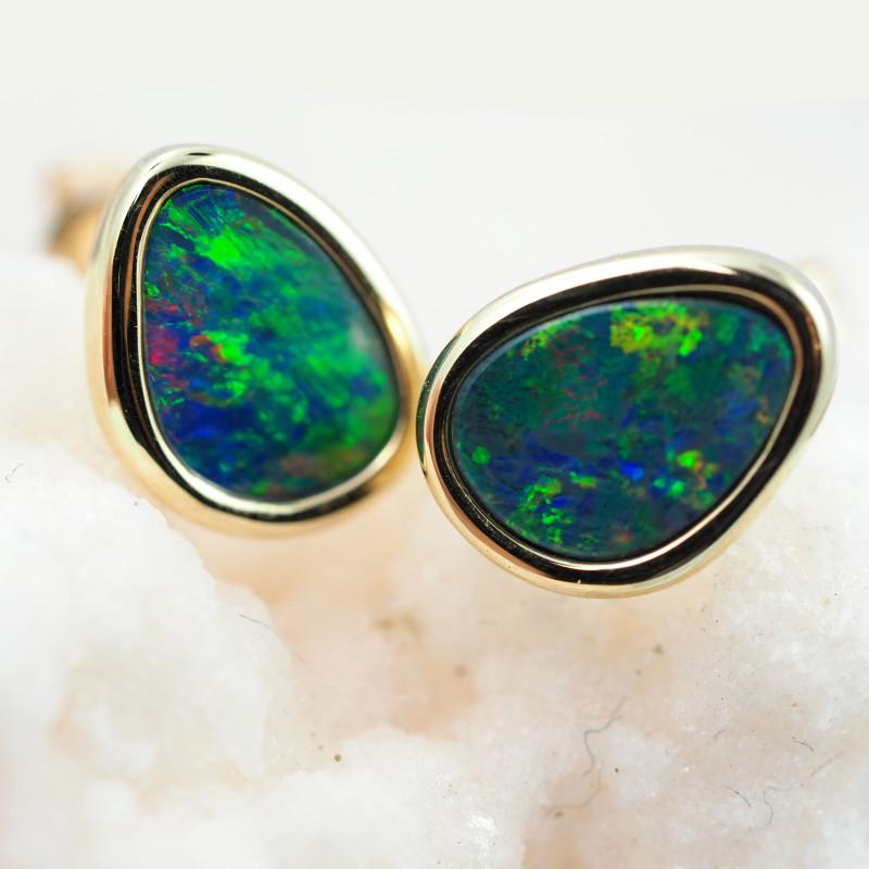 Handmade 14K Gold Doublet Opal Earrings OPJ183