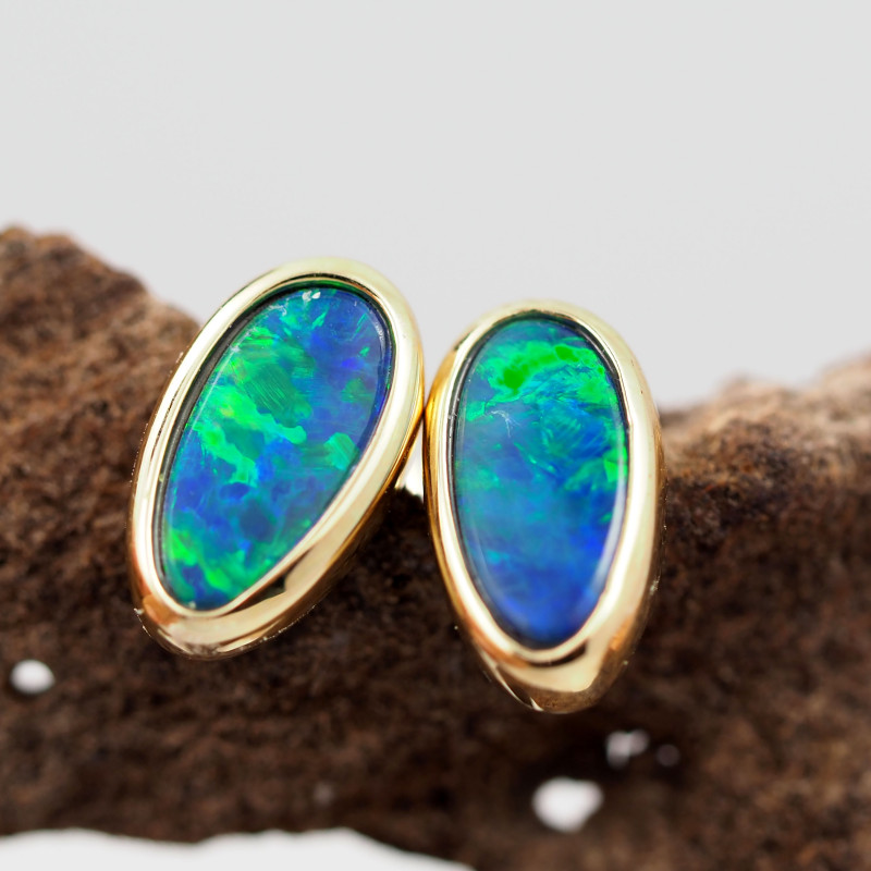 Handmade 14K Gold Doublet Opal Earrings OPJ187