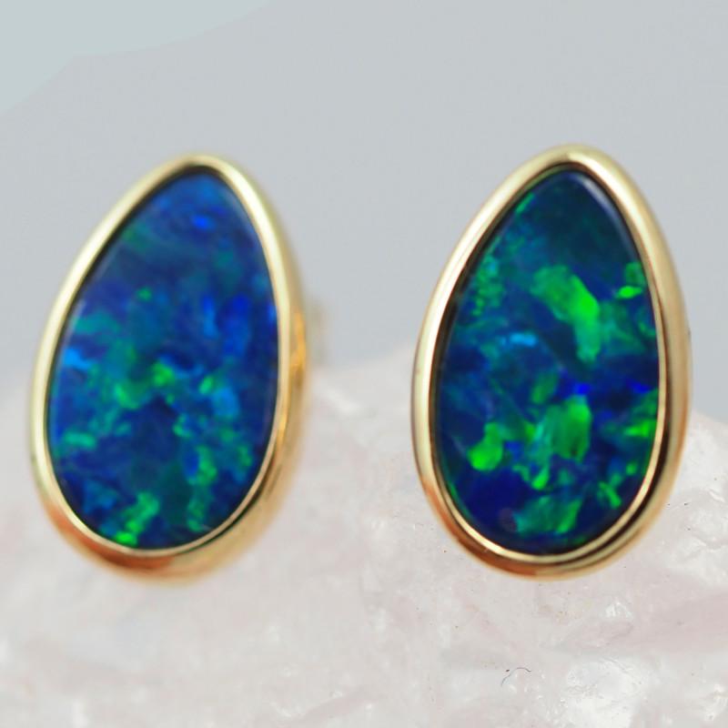 Handmade 14K Gold Doublet Opal Earrings OPJ188