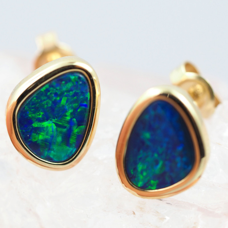 Handmade 14K Gold Doublet Opal Earrings OPJ189