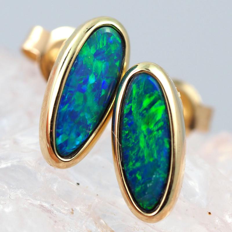 Handmade 14K Gold Doublet Opal Earrings OPJ190