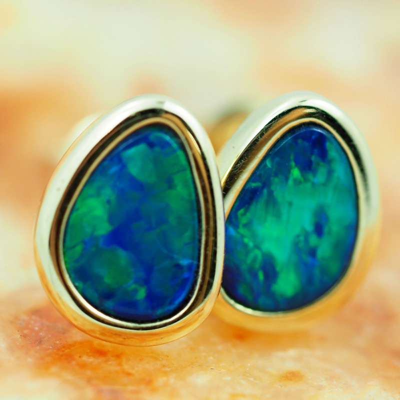 Handmade 14K Gold Doublet Opal Earrings OPJ191