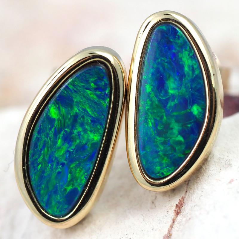 Handmade 14K Gold Doublet Opal Earrings OPJ192