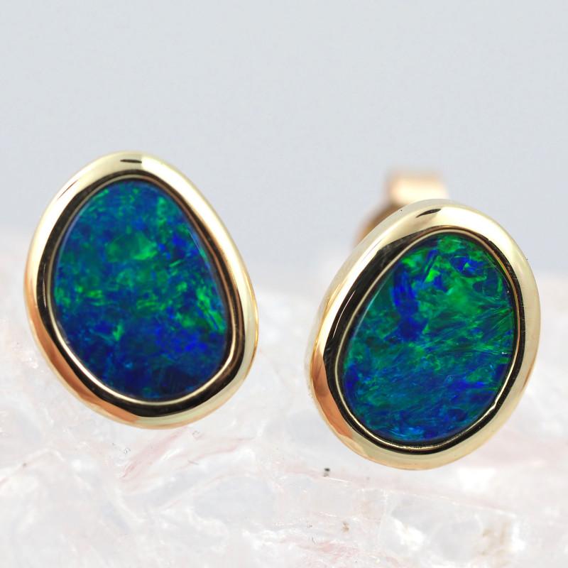Handmade 14K Gold Doublet Opal Earrings OPJ194