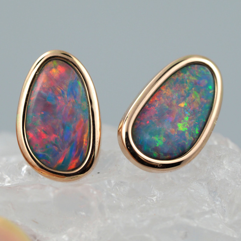 Handmade 14K Gold Doublet Opal Earrings OPJ195