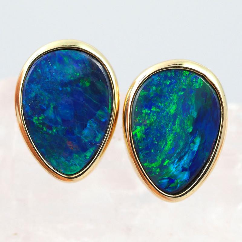 Handmade 14K Gold Doublet Opal Earrings OPJ196