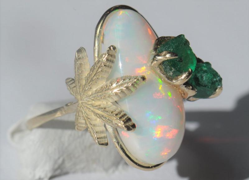 7.5sz 14k Gold Cannabis / Marihuana Design Shakiso  Emerald & Welo Opal