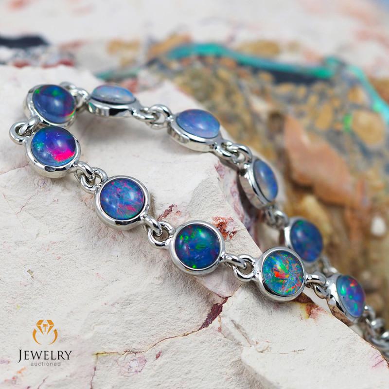Australian 10pc Triplet Opal in Creative Strong Bracelet am876