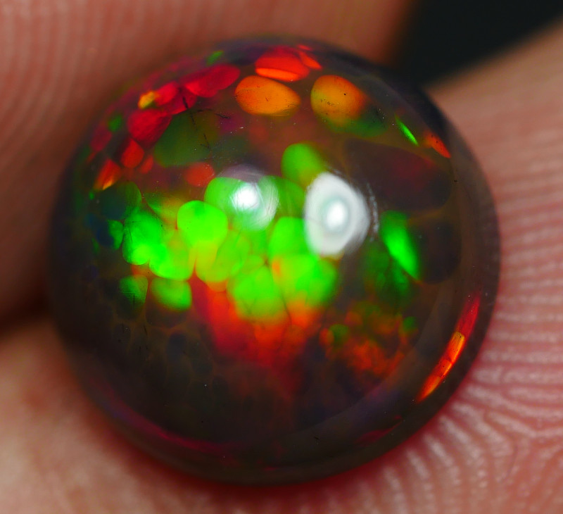 2.45 CRT WOMDERFULL ROUND SMOKED HONEYCOMB DELUXE COLOR WELO OPAL*30