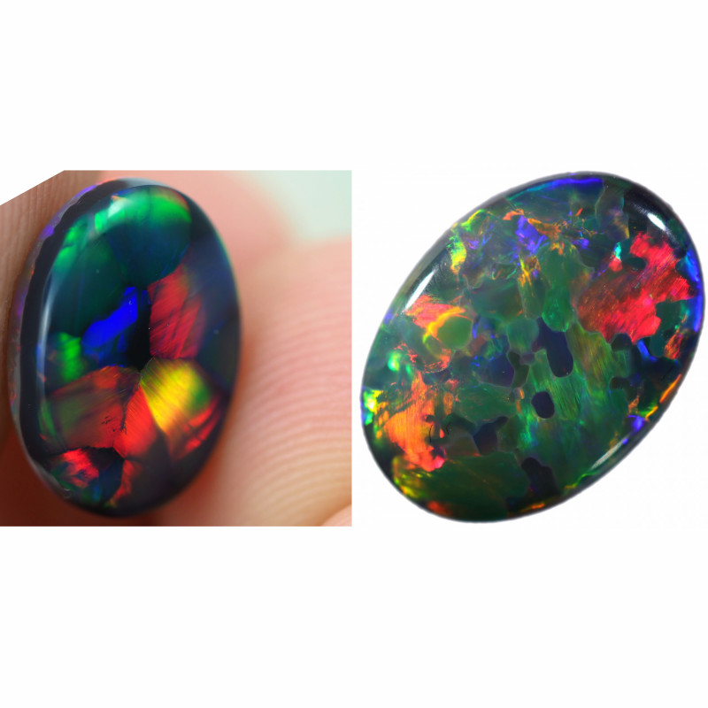 2.94 CTS  STUNNING DOUBLE SIDED  OPALS WITH WAGON WHEEL AND JIGSAW PATTERN-