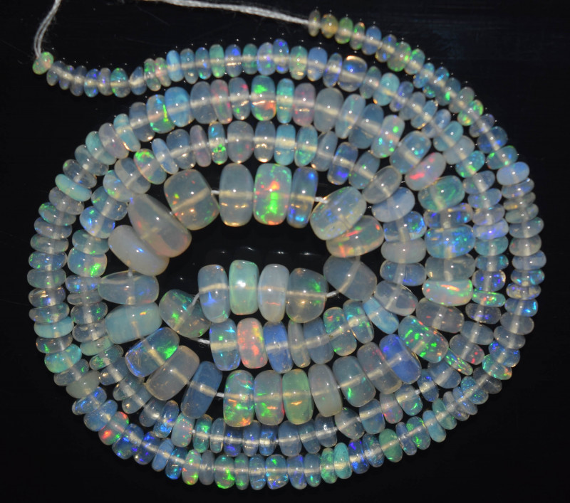 37.50 Ct Natural Ethiopian Welo Opal Beads Play Of Color