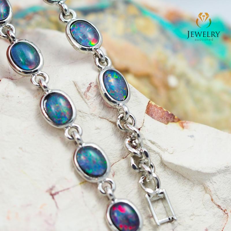 Modern Design 10pc  Oval Opal Triplet Bracelet  OPJ 1060