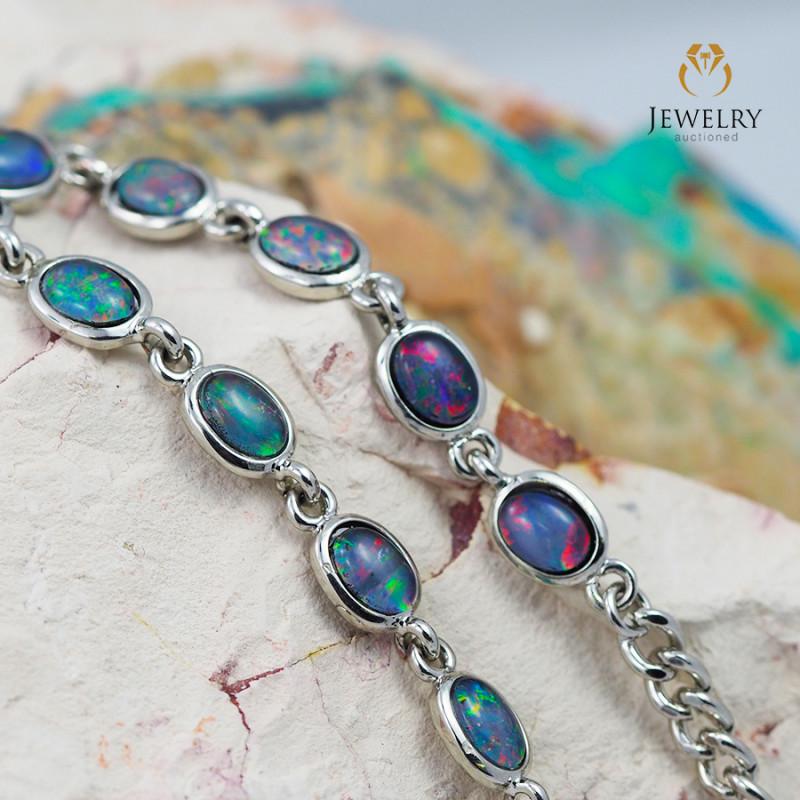 Modern Design 10pc  Oval Opal Triplet Bracelet  OPJ 1064