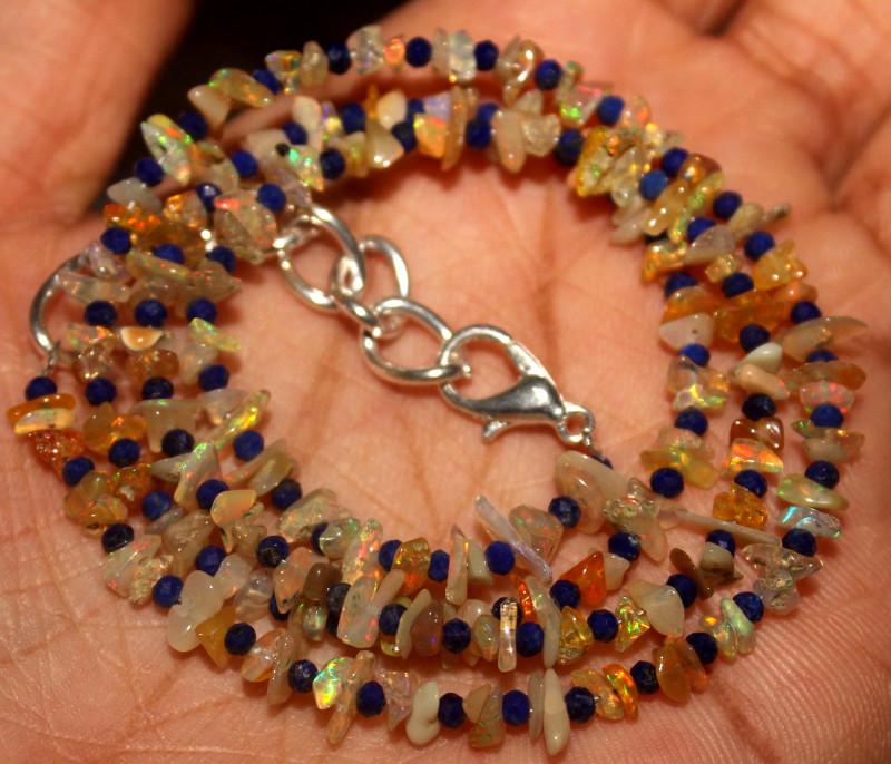 27 Crt Natural Ethiopian Welo Opal Uncut & Lapis Lazuli Necklace 34