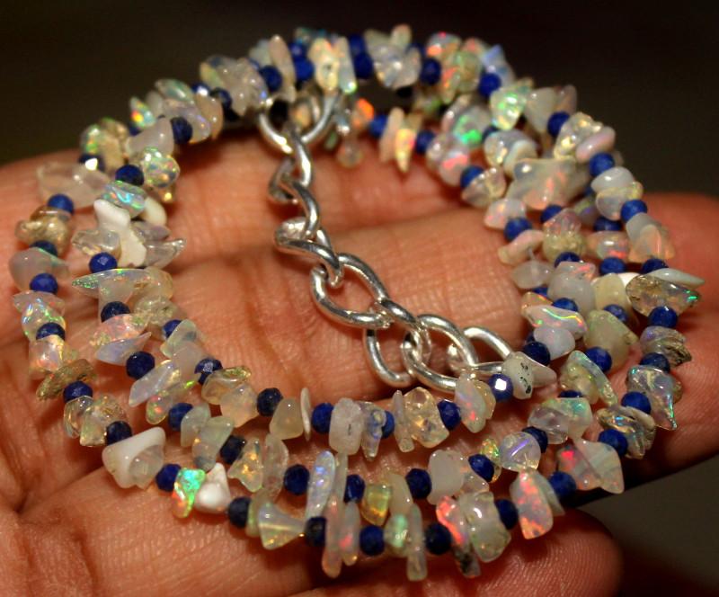 28 Crt Natural Ethiopian Welo Opal Uncut & Lapis Lazuli Necklace 25